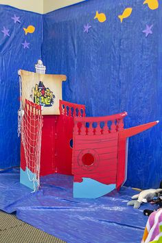 Stations are used during the Pre-Primary and Toddler Bible lesson times to encourage engagement and activity. This is an idea for a dramatic play area at #MysteryIsland