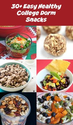 30 Easy Healthy College Dorm Snacks - these healthy recipes require little or no cooking