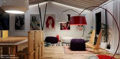Red white purple living space