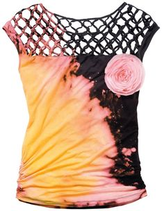 Have you ever tried discharge dyeing?  It's the process of taking the color out of a shirt using bleach, then adding dye (like Tulip One-Step) back in.  Black all-cotton tops like this one are perfect for this technique! Download the full instructions here:     http://www.joann.com/flaming-hot-top/prod320510
