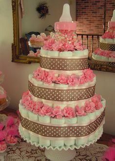 Diaper cake for girl! baby shower cakes, baby shower ideas, diapers, diaper cakes, baby shower gifts, cake baby, babi shower, baby bottles, baby showers