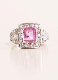 Pink Sapphire + Diamonds Ring