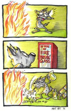 Romper cristal en caso de fuego