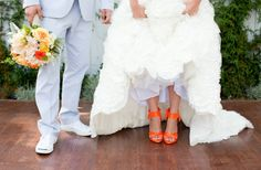 wedding dressses, white wedding dresses, wedding shoes, color, bright wedding, orange weddings, oranges, white weddings, bride