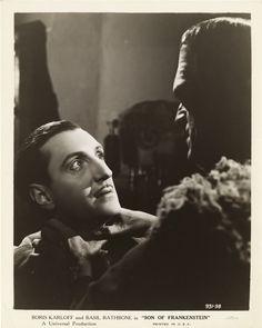 Basil Rathbone in Son of Frankenstein (1939), with Boris Karloff