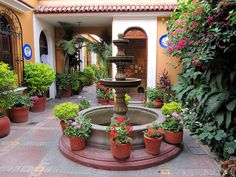 Spanish Colonial Courtyard, Oaxaca City, Mexico by Bencito the Traveller, via Flickr spanish patio, plant, fountain, colonial patio, courtyard, flower