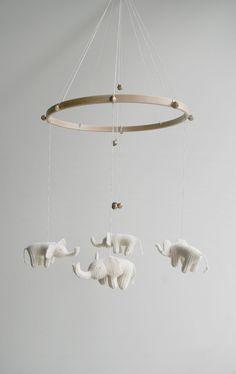 Baby mobile - white elephants...
