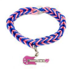 Guitar Charm Stretch Band Bracelet #kids #crafts #stretchband #loopband #loombracelet