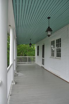 painted ceiling on front porch
