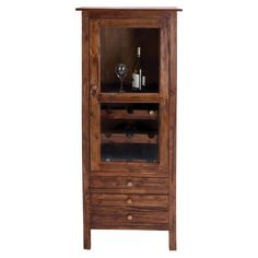 Mahogany wood wine cabinet with a glass door and bottom drawers.   Product: Wine cabinetConstruction Material: ...