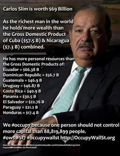 Carlos Slim is worth $69 billion    [click on this image to find a short clip and analysis of why inequality has gotten so much worse in the U.S., why it doesn't have to be this bad, and how inequality hurts the economy]