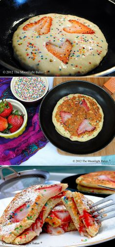 Strawberry funfetti pancakes @Kimberly Peterson Peterson Rhoades  WE NEED TO DO DIS FOR YO BDAY EVE