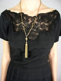 vintage black dress w/ lace detail