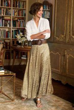 Women's Silk Sienna Skirt - Matte Gold Satin Skirt, Satin Skirt | Soft Surroundings