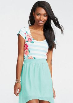 Floral Mint Stripe Short Sleeve