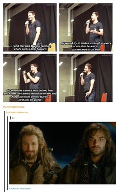 """Martin Freeman, who's such a little bastard.."" Bilbo, Fili and Kili silliness :)"