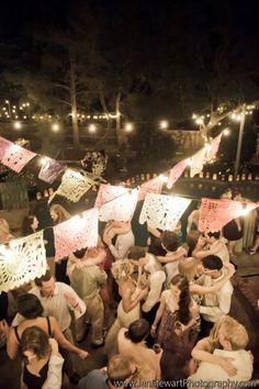 lanterns around pool edge