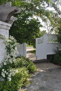 White flowers, brick, and gate