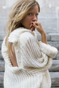 Chunky sweater #oversized #cutouts #openback #knits #cozy #comfy #relaxed #effortless #weekend #casual #chic #style