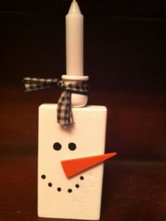 Chunky Snowman  Candle holder candle by FromTheCoast2TheCity, $12.00