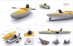 Verseka portable boat folds in half for easy transportation    Ideal for fishing and fun boating in small rivers or lakes, the Verseka becomes as compact as it easily slips in the bootspace available in a regular vehicle.    http://www.designbuzz.com/entry/verseka-portable-boat-folds-into-half-for-easy-transportation/