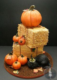 *#KatieSheaDesign ♡❤ ❥ #Halloween pumpkin cake with hay bales and black cat
