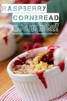 YUMMY Raspberry Cornbread Crumble Recipe via Kara Allen | Kara's Party Ideas | KarasPartyIdeas.com