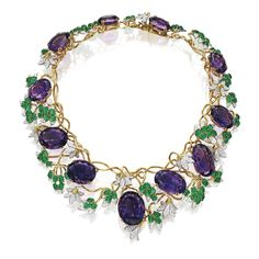 18 KARAT GOLD, PLATINUM, AMETHYST, EMERALD AND DIAMOND 'VIGNE' NECKLACE, SCHLUMBERGER FOR TIFFANY & CO.