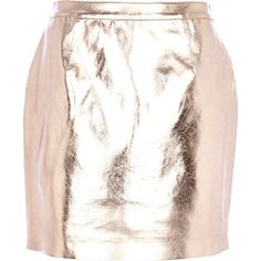 Rose gold metallic leather-look mini skirt #riverisland