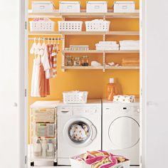 Organized laundry room.