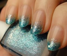 Teal with silver glitter. gradient nail, nail polish, glitter nail, french manicures, sparkle nails, nail design, sparkly nails, nail art, blue nails