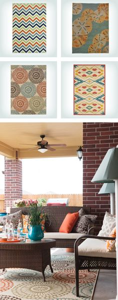 Outdoor rugs are a great way to add color & pattern to your patio and create a cohesive indoor/outdoor living space. Click to shop more outdoor rugs on Wayfair!