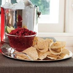 Cranberry-Jalapeño Salsa | Show off the festive flavor of cranberries with this sweet-hot salsa. You can make it ahead and freeze up to one month before your holiday gathering. | SouthernLiving.com