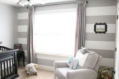 Gray and white stripes are a great way to do gender neutral nursery!