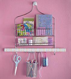 gift wrap/craft center = it's just a shower hanger!