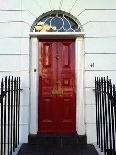 London Front Door N1 Painted in Red Gloss