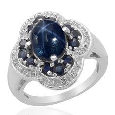 Liquidation Channel: Thai Blue Star Sapphire, Kanchanaburi Blue Sapphire, and Diamond Ring in Platinum Overlay Sterling Silver (Nickel Free)
