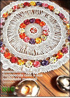 Cantinho da Dry: Toalha com flores coloridas em croche com grafico
