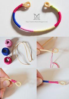 缠绕撞色手链 个人觉得端午节用最好, Handmade Jewellery , Homemade Accessories , Fashion, DIY, Cool Teen Crafts necklace, tut, tutorial, how to, bracelet, string, rainbow, girls, craft, project
