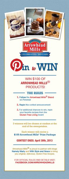 Pin to Win $100 of Arrowhead Mills products!