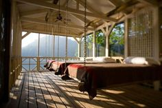lake houses, cabin, swing beds, hanging beds, sleeping porch, dream, sleep porch, bedroom, screened porches