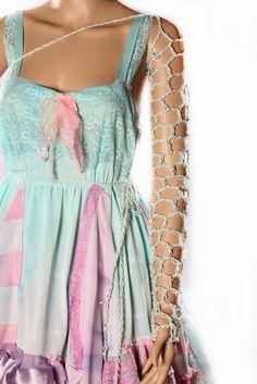 Net Arm Warmers - loose Net style Crochet One Long Sleeve Light Pastel Blue Warrior Gothic Lolita fishnet Mermaid. $27.00, via Etsy.