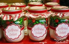Pint size mason jar cookies. change the labels and give to coworkers as christmas gifts this year.