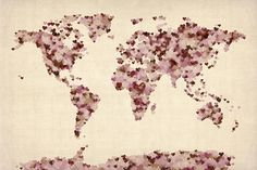 Love Hearts Map Of The World Map Digital Art