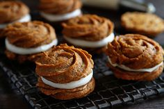 Pumpkin Rose Sandwich Cookies with Caramel Cream Cheese Frosting!