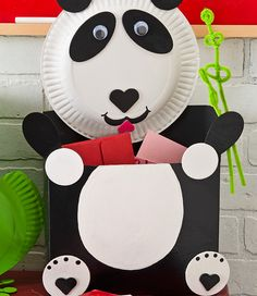 For Valentine's Day -- Panda Bear Valentine Card Holder - maybe my students could make???