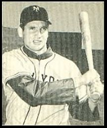 """Photo of New York Giants outfielder Bobby Thomson; image taken from a baseball card issued by Bowman Gum in 1948. Source: Wikimedia Commons. Read more on the GenealogyBank blog: """"Baseball History: Thomson's """"Shot Heard 'Round the World."""" http://blog.genealogybank.com/baseball-history-thomsons-shot-heard-round-the-world.html"""