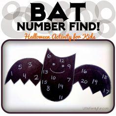 Bat activity for kids. Fun Halloween preschool activity.