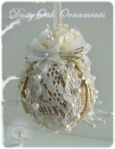 Burlap, lace and pearls wedding keepsake Christmas tree ornament