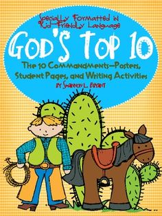 10 Commandments for Kids-Posters, Song, Coloring Pages, and Writing Activities-Bryant's Brain Train